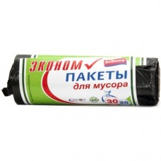 Эконом Пакеты для мусора, 30л, 20шт./рулон, черные