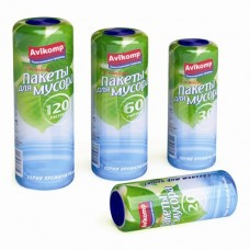 Пакеты для мусора, 20л/30л/60л по  20шт./рулон 120л/10шт/рулон синие